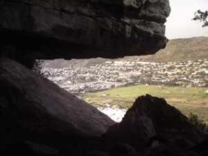 Fish Hoek as seen from the cave