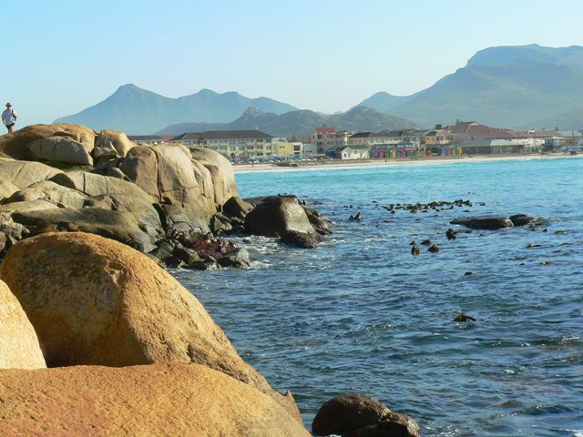 A view of Fish Hoek from Jaegers Walk, with mountains in the background