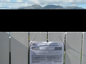 what the view could be like from main road if the garages are built- bye-bye Simon's Town!