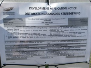 The details of the proposal as outlined on the public sign
